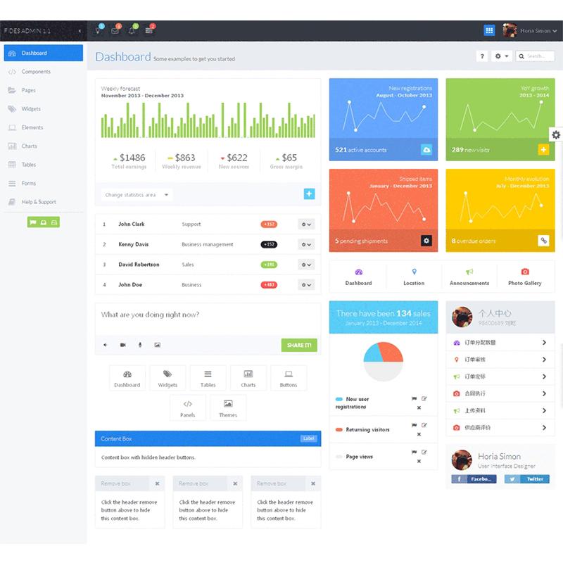 蓝色小清新响应式cms企业后台管理模板_网站后台模板