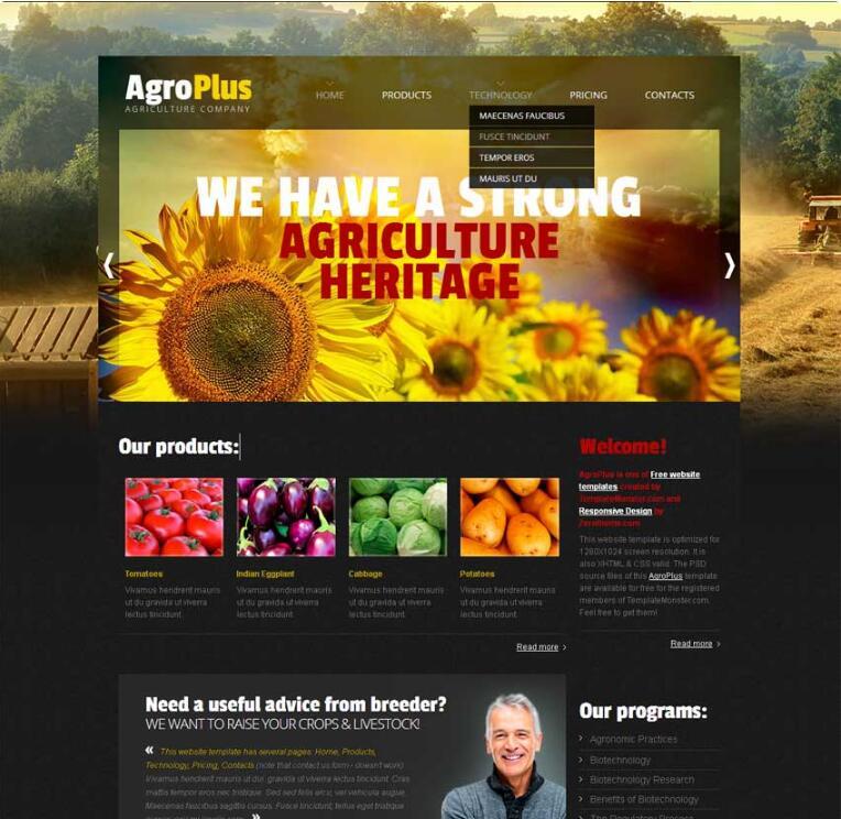 黑色的田园农业生产网站模板html下载_企业网站模板